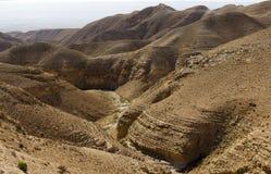 Woestijncanion van Wadi Kelt Royalty-vrije Stock Afbeelding