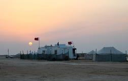 Woestijnkamp in Qatar Stock Foto