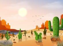 Woestijnlandschap met cactus op de zonsondergangachtergrond stock illustratie