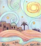 Woestijnnacht vector illustratie