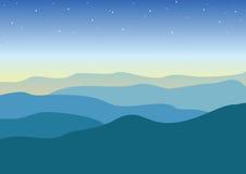 Woestijnnacht met sterren Vector illustratie Stock Foto
