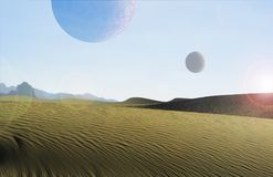 Woestijnplaneet met manen Stock Foto's
