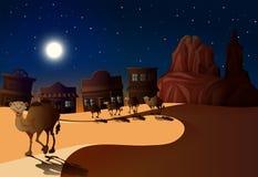 Woestijnscène bij Nacht met Kamelen royalty-vrije stock afbeelding