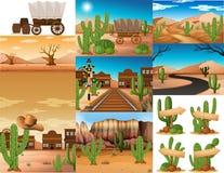 Woestijnscènes met cactus en gebouwen royalty-vrije illustratie