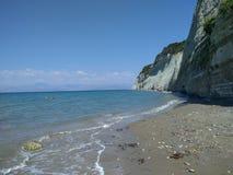 Woestijnstrand in het eiland Griekenland van Korfu Royalty-vrije Stock Foto's