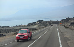 Woestijnweg in Chili Stock Foto's