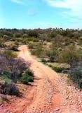 Woestijnweg en maan Royalty-vrije Stock Foto