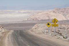 Woestijnweg op Atacama, Chili Royalty-vrije Stock Fotografie