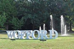 Wofford学院入口、标志和喷泉 免版税库存照片