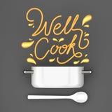 Wohles Kochzitat mit moderner Wiedergabe 3D des Topfes Lizenzfreies Stockbild