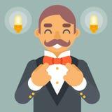 Wohlhabender viktorianischer Herr-Geschäftsmann-Character Correct Tie-Bogen-Ikonen-stilvoller Lampen-Hintergrund-Retro- Weinlese  Stockfotos