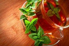 Wohlriechender Tee mit frischen Blättern des grünen Tees stockfotografie