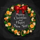 Wohlriechender Weihnachtskranz mit Bonbons und Gewürzen vektor abbildung