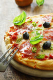 Wohlschmeckende italienische Salamipizza Lizenzfreies Stockfoto
