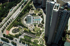 Wohngarten in der chinesischen Stadt Lizenzfreie Stockbilder