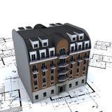 Wohngebäude auf Plänen Lizenzfreie Stockfotos