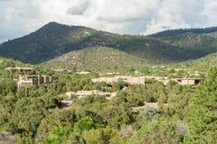Wohngebäude um Johannes College in Santa Fe New Mexiko Lizenzfreie Stockbilder