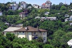 Wohngebiet in den Bergen Stockfotos