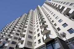 Wohngebäude mit Balkonen Stockbild