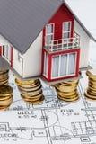 Wohnhaus auf Plan Lizenzfreie Stockbilder