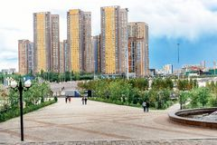 Wohnkomplex im neuen Astana lizenzfreies stockfoto