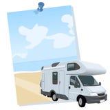 Wohnmobil, das für ein Plakat herauskommt Lizenzfreies Stockfoto