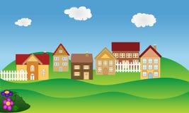 Wohnnachbarschaft im Frühjahr Lizenzfreie Stockfotos