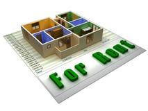 Wohnung 3D auf einer finacial Datei für Miete lizenzfreie abbildung