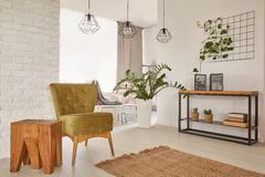 Wohnung entworfen mit erdigen Farben stockfotografie