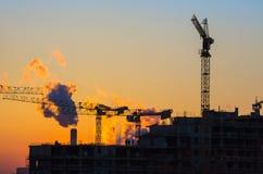 Wohnungsbau Sonnenuntergang Stockfotos