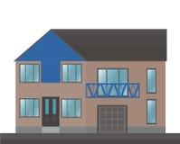 Wohnungsbaufassadenarchitektur Vektorillustration Flache Art lizenzfreie abbildung
