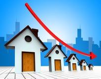 Wohnungspreise stellt unten verringern zurückgeht und Haushalt dar Lizenzfreies Stockbild