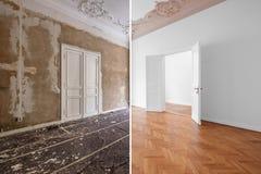 Wohnungsraum während der Erneuerung, vor und nach Wiederherstellung/Erneuerung lizenzfreie stockfotografie