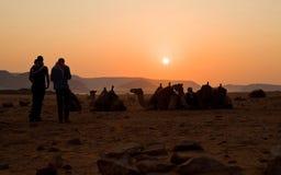 Wohnwagen bei Sonnenaufgang - Wadi Rum - Jordanien stockfotografie