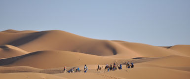 Wohnwagen an den Dünen Merzouga, Marokko Lizenzfreie Stockfotografie