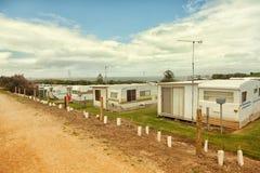 Wohnwagen oder Wohnwagensiedlung Stockfotos