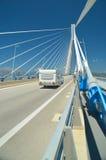 Wohnwagen in Rio-antirio Brücke, patra Griechenland Lizenzfreie Stockfotografie