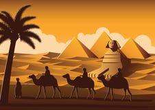 Wohnwagen von Kameldurchlauf Pyramide, Markstein von Ägypten auf Sonnenuntergangzeit, y lizenzfreie abbildung