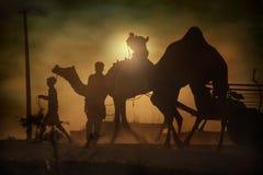 Wohnwagen von Kamelen bei Sonnenuntergang in der Sandwüste Stockfoto