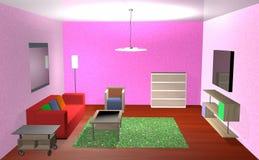 Wohnzimmer in 3d Lizenzfreie Stockfotografie