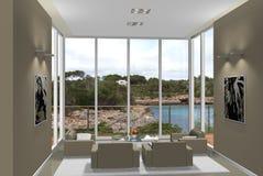 Wohnzimmer 3D mit fantastischer Ansicht Lizenzfreie Stockbilder