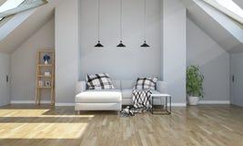 Wohnzimmer der Wiedergabe 3d auf Dachboden lizenzfreie stockfotografie