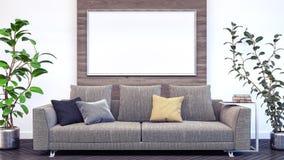 Wohnzimmer, Innenarchitektur 3D übertragen Illustration 3D Lizenzfreies Stockbild
