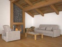 Wohnzimmer mit Dachlichtstrahlen und -kamin Lizenzfreie Stockbilder