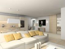 Wohnzimmer mit den modernen Möbeln stock abbildung