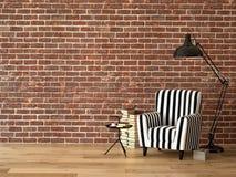 Wohnzimmer mit einem Lehnsessel und Büchern, 3d Stockfotografie
