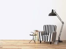 Wohnzimmer mit einem Lehnsessel und Büchern, 3d Stockbilder