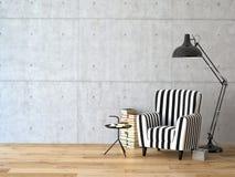 Wohnzimmer mit einem Lehnsessel und Büchern, 3d Lizenzfreie Stockfotos