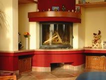 Wohnzimmer mit Kamin Stockfoto