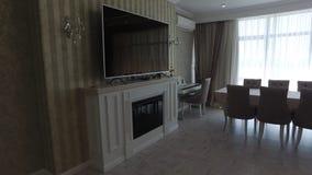 Wohnzimmer mit Kamin stockbilder